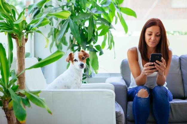 Mulher chamando o veterinário com o telefone em casa