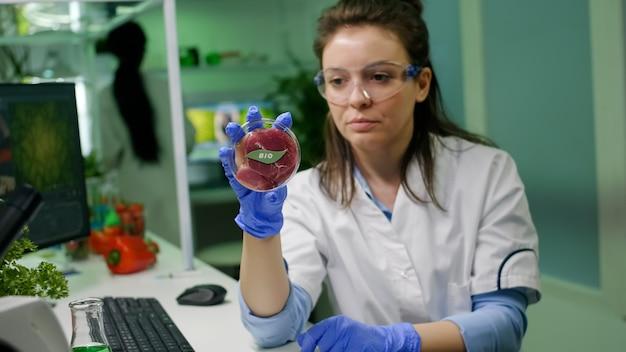 Mulher cientista olhando carne bovina vegana para experimento de bioquímica pesquisador químico analisando