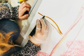 Mulher colheita, desenho, com, caneta marcador