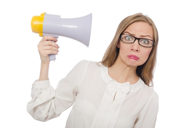 Mulher, com, alto-falante, isolado, branco