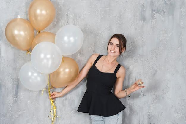 Mulher, com, balões