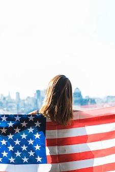 Mulher, com, bandeira, de, américa