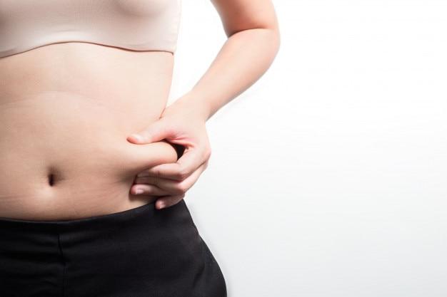 ฺ mulher com barriga, conceito de dieta
