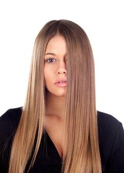 Mulher, com, beleza, longo, cabelo loiro