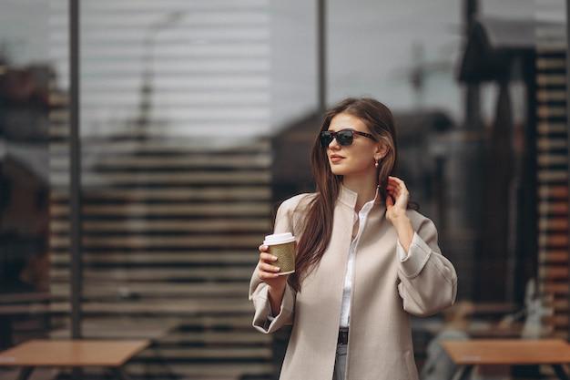 Mulher, com, café
