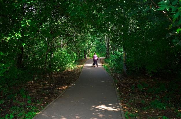 Mulher com carrinho de bebê andando no fundo do parque