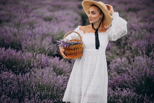 Mulher, com, cesta, recolhendo lavander