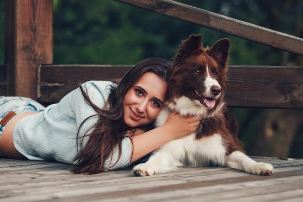 Mulher, com, dela, limite collie, cão