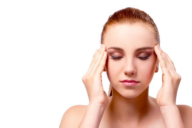 Mulher, com, dor de cabeça, isolado, branco