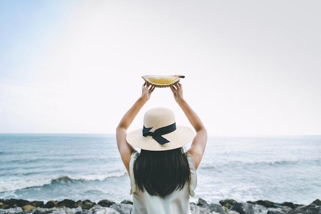 Mulher, com, durian
