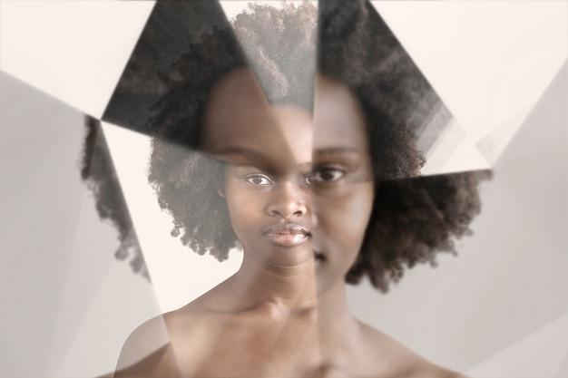 Mulher com efeito caleidoscópio de prisma