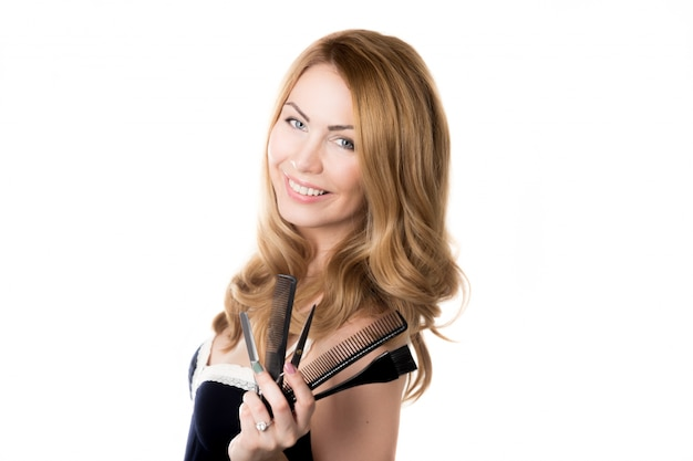 Mulher com engenhocas cabeleireiro