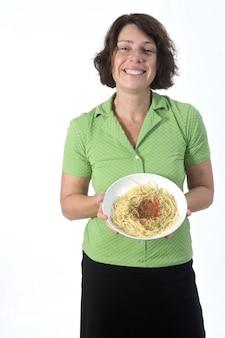 Mulher com espaguete