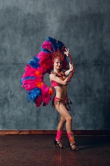Mulher com fantasia de samba carnaval com plumagem de penas coloridas.