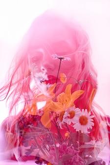 Mulher, com, flores, dentro, dobro, exposição