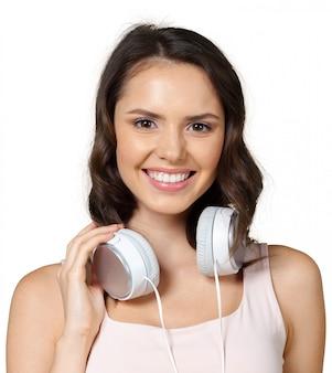 Mulher, com, fones ouvindo música