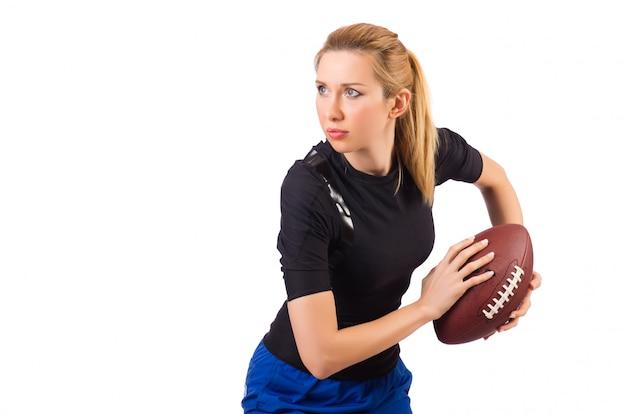 Mulher, com, futebol americano, isolado, branco
