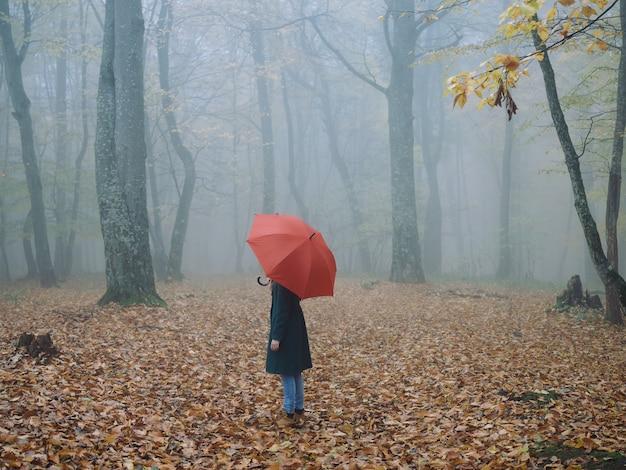 Mulher com guarda-chuva vermelho outono floresta natureza ar fresco
