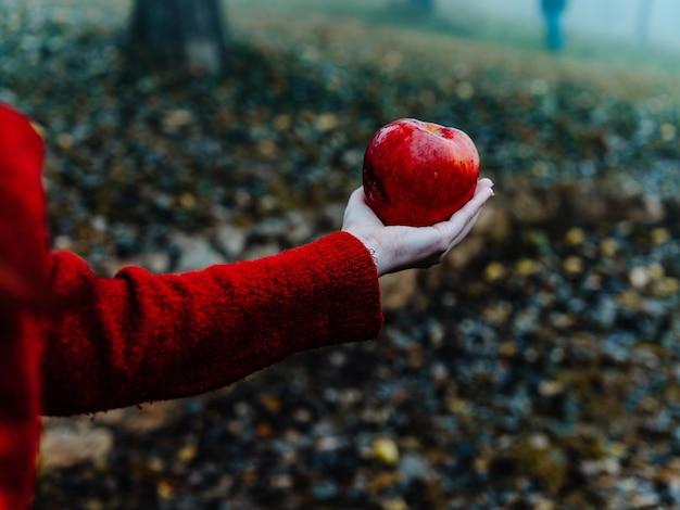 Mulher com maçã vermelha nas mãos natureza da floresta de outono