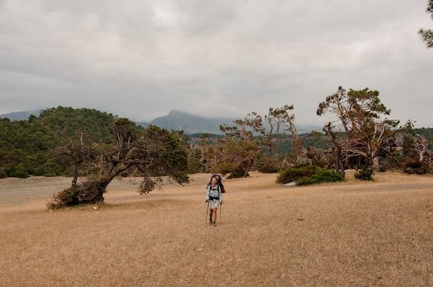 Mulher com mochila e bengalas andando pelo campo seco no fundo da floresta verde