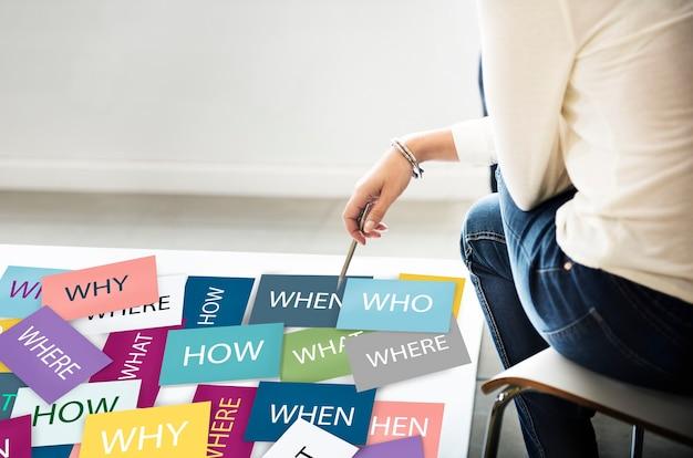 Mulher com notas de perguntas: por que, quem, onde, como, por quê