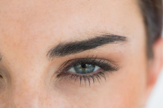 Mulher, com, olhos azuis