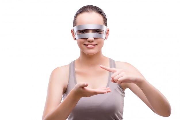 Mulher, com, techno, óculos, isolado, branco