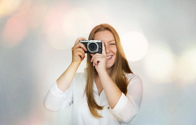 Mulher, com, um, câmera