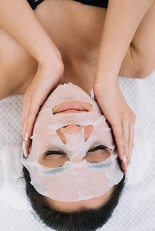 Mulher, com, um, máscara facial