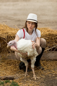 Mulher, com, um, peru, ligado, um, fazenda