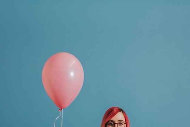 Mulher, com, um, único balão