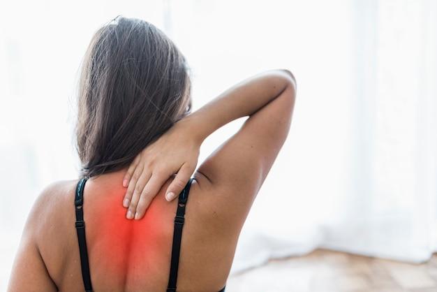 Mulher, costas, desporto, vermelho, área, dor