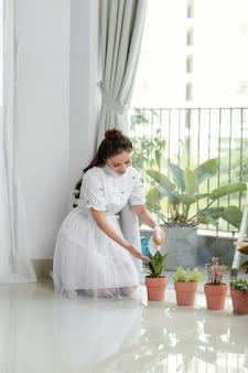 Mulher cuidando da planta da casa.