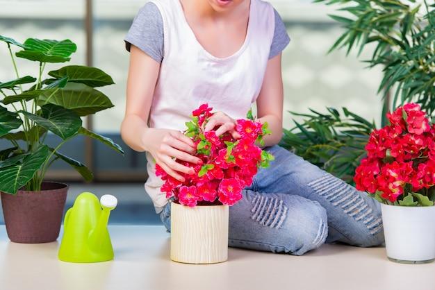 Mulher, cuidando, de, lar, plantas