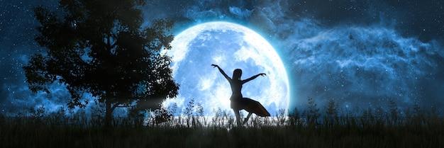 Mulher dançando no fundo de uma grande lua cheia, ilustração 3d