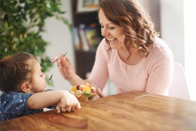Mulher dando frutas para a filha