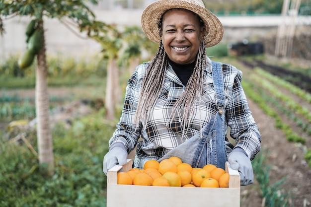 Mulher de agricultor sênior africana segurando uma caixa de madeira com laranjas orgânicas frescas