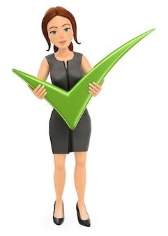 Mulher de negócios 3d com um enorme carrapato verde