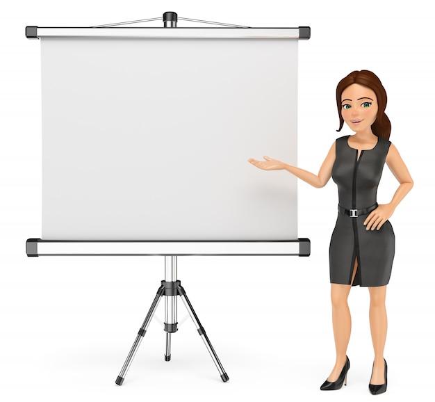 Mulher de negócios 3d com uma tela em branco do projetor