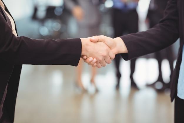 Mulher de negócios, apertando as mãos com o colega