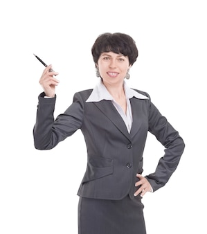 Mulher de negócios apontando a caneta