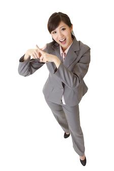 Mulher de negócios asiática com gesto de rejeição