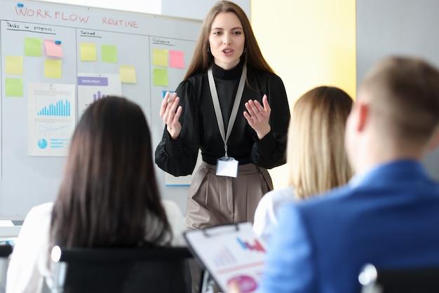 Mulher de negócios bem-sucedida na lousa na conferência