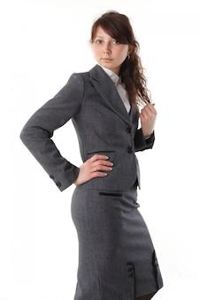 Mulher de negócios bonita jovem em terno - isolado no branco