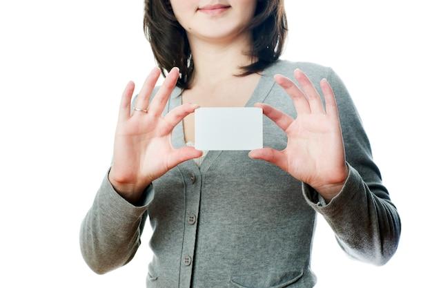 Mulher de negócios com cartão
