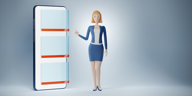 Mulher de negócios de personagem de desenho animado aponta um dedo para o telefone de exibição com coluna em branco de bate-papo. ilustração 3d