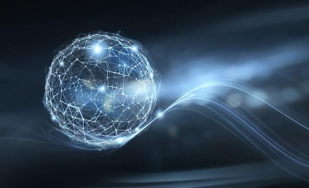 Mulher de negócios detém o globo da internet. conceito futurista de conexão e rede