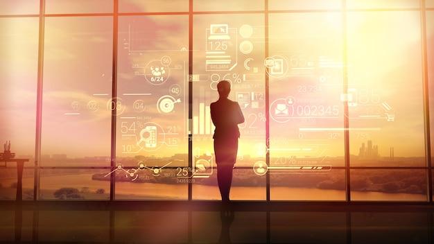 Mulher de negócios e infográficos corporativos