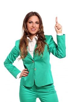 Mulher de negócios em terno verde
