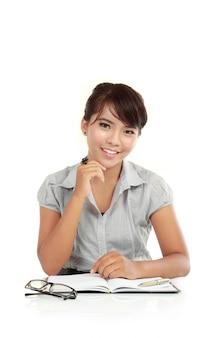 Mulher de negócios, esperando o cliente